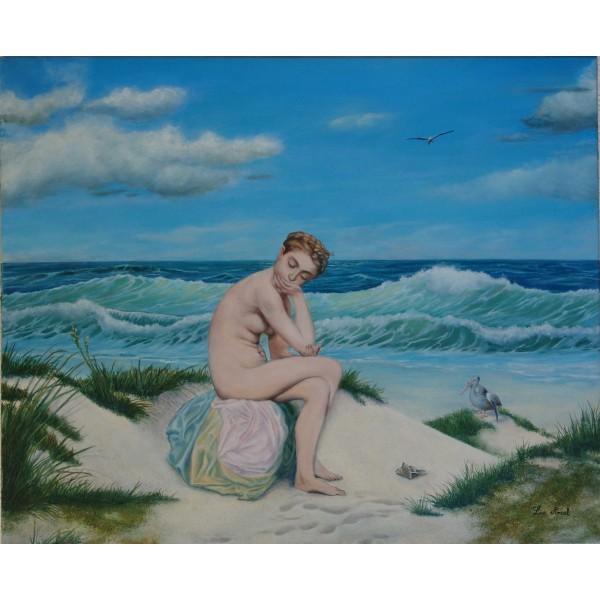 Tableau peinture à l'huile - Le bain de soleil