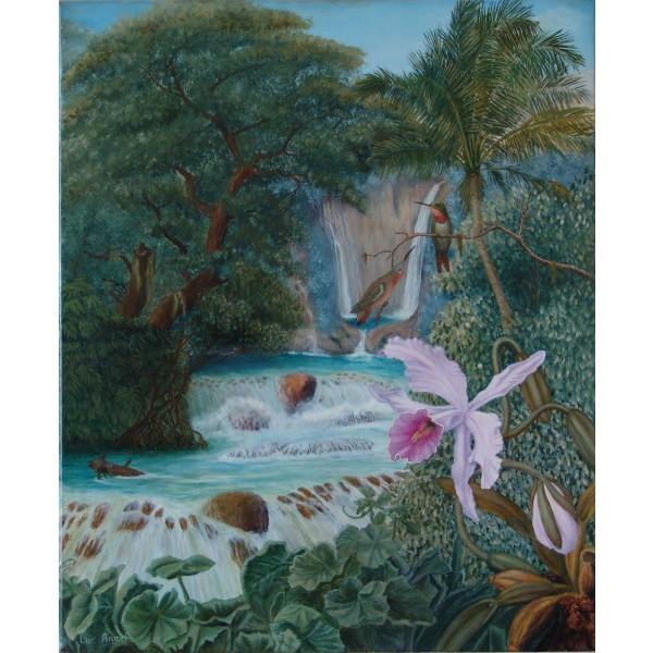 Tableau peinture à l'huile - Orchidée sauvage