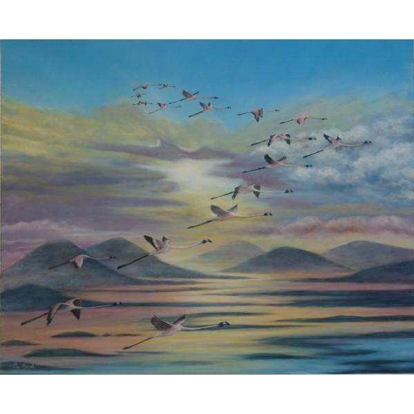 Tableau peinture acrylique et huile -  Migration