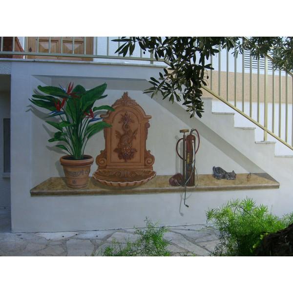 Peinture murale trompe l'oeil acrylique - Strelitzia