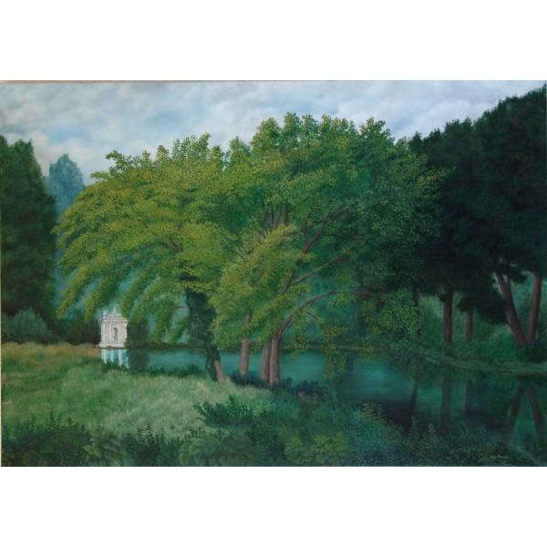 Tableau peinture acrylique et huile - Le temple de l'amour