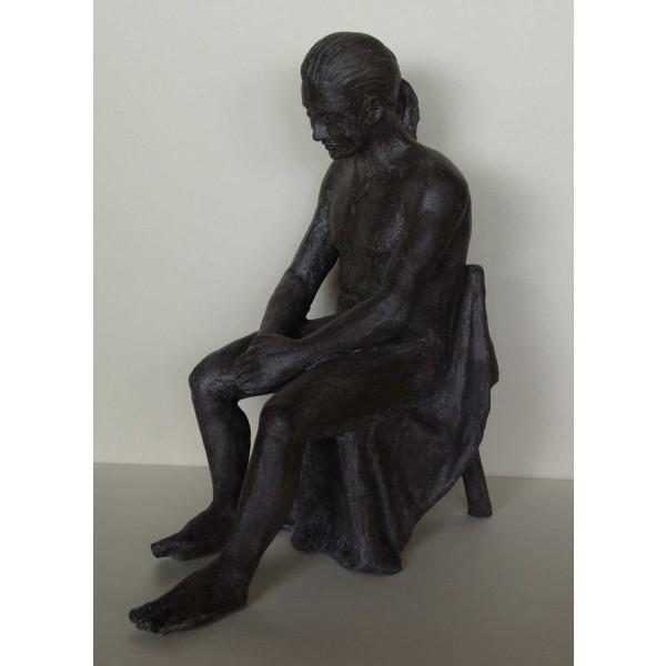 Sculpture terre cuite noire - Benoît