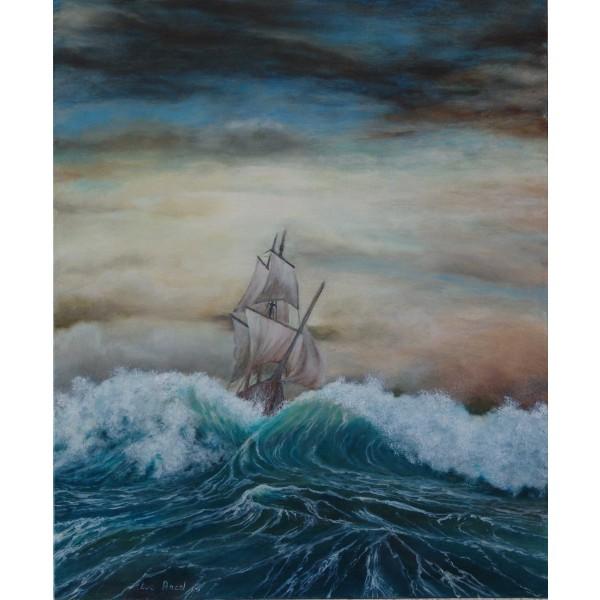 Tableau peinture à l'huile - Le vaisseau fantôme