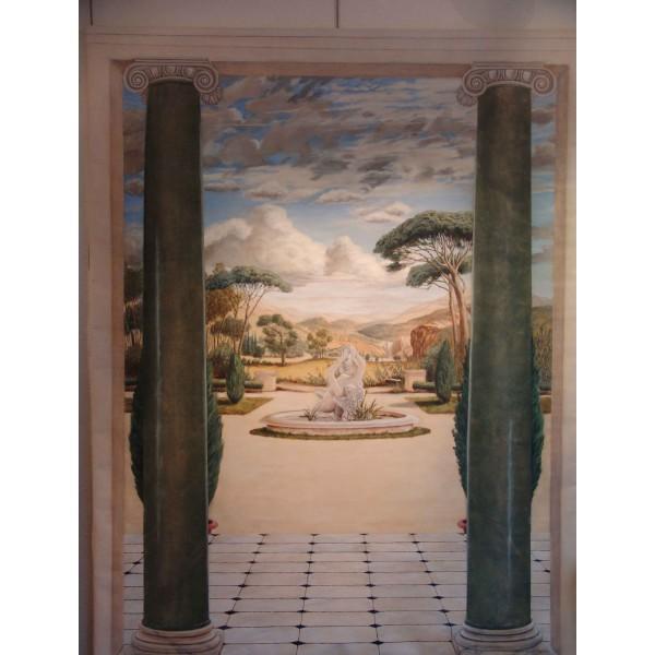 Peinture murale trompe l'oeil - Echappée sur le parc