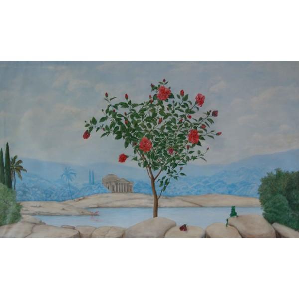 Peinture murale trompe l'oeil - Hibiscus