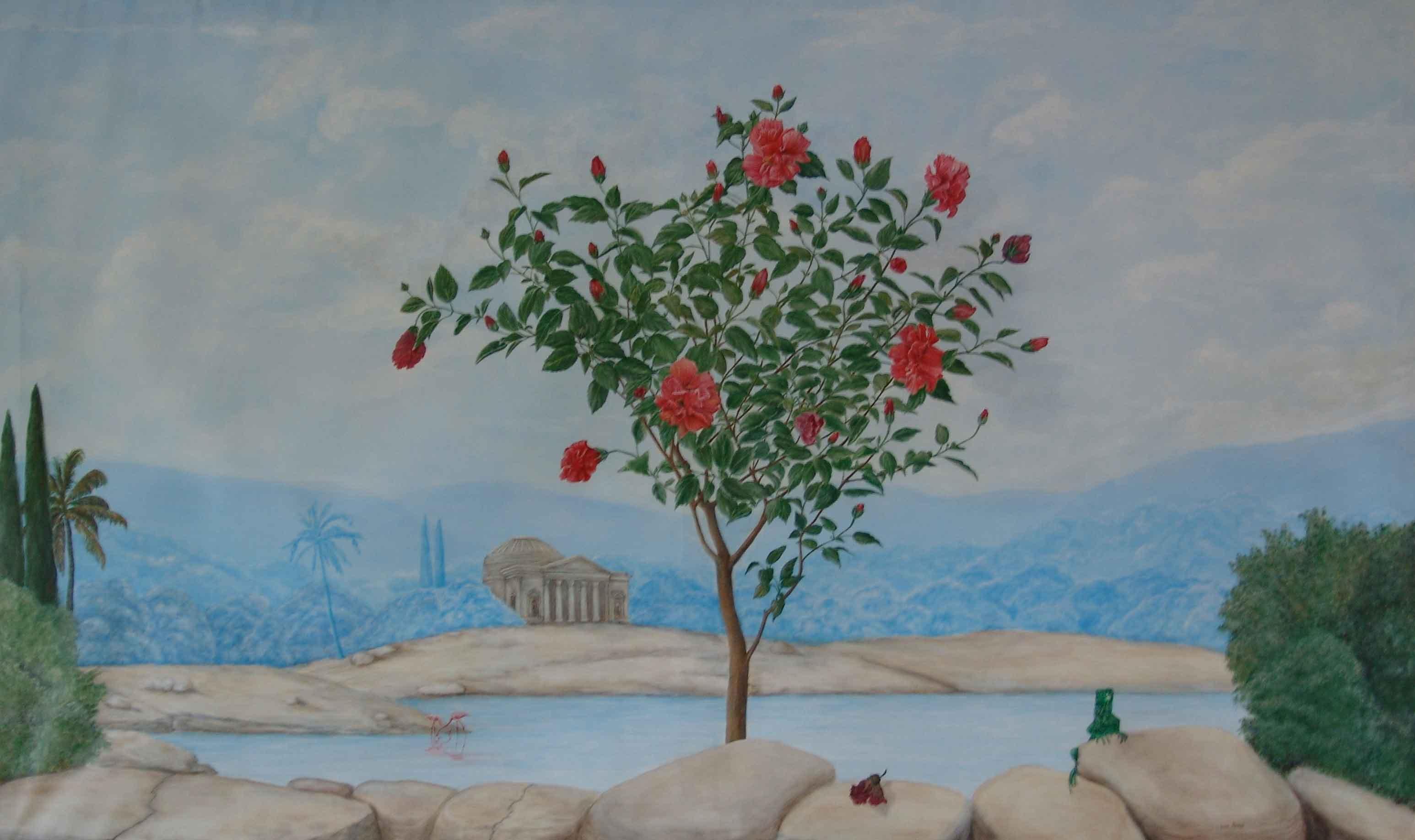Peinture murale trompe l 39 oeil hibiscus - Trompe l oeil peinture ...