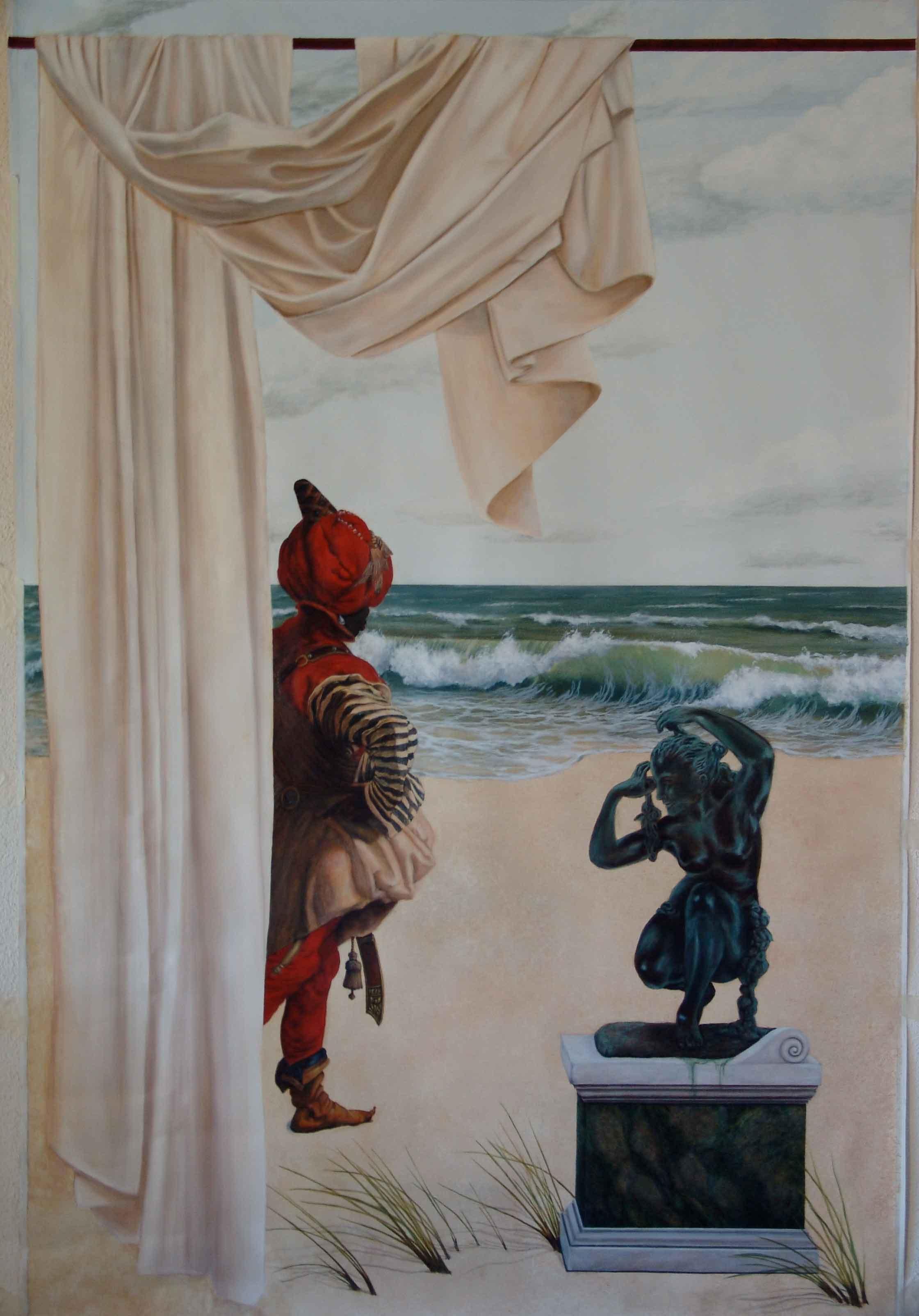 peinture murale trompe l 39 oeil la sentinelle. Black Bedroom Furniture Sets. Home Design Ideas